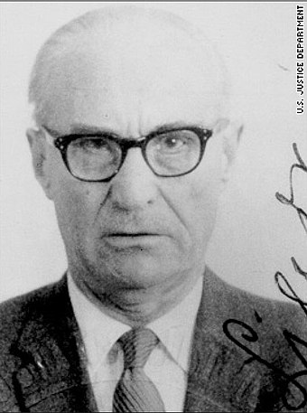 Aleksandras Lileikis, a Nazi unit commander who oversaw the murder of 60,000 Jews in Lithuania. He later worked for the CIA. Alexandras Lileikis.jpg