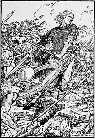 Bagsecg - An early twentieth-century depiction of Alfred, younger brother of Æthelred, at the Battle of Ashdown.