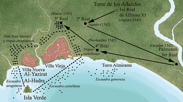 Location of King Alfonso XI during the siege, and of his troops Algeciras Sitio de Alfonso XI.jpg