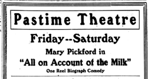 All on Account of the Milk - Newspaper ad for the film.