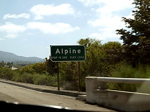 Alpine, California - Alpine's town sign at its western border, as seen from I-8