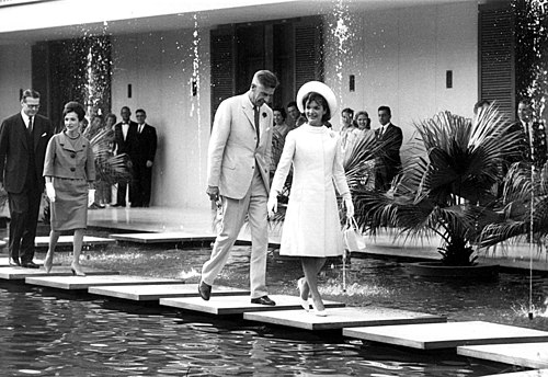 Galbraith and First Lady Jacqueline Kennedy at the US Chancery, New Delhi