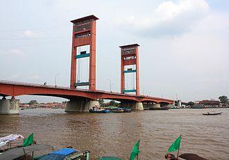 Musi River (Indonesia) - Ampera Bridge over the Musi River