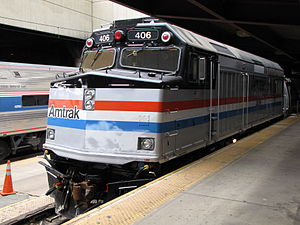 Amtrak locomotive 406, on display for National...