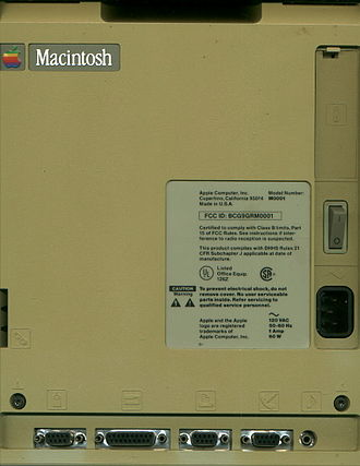 "Macintosh 128K - Back case of an unaltered original Macintosh (sold January–November 1984). Those made after November 1984 have the label ""Macintosh 128K"" on the back of the case."