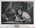 An alchemist poring over a book, on his table stand an hour- Wellcome V0025538.jpg