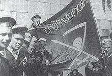 El «orgullo y gloria de la revolución», como los calificóTrotski: marinos delPetropávlovsken Finlandia en el verano de 1917.