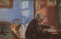 Ancher, Anna - Kunstnerens mor Ane Hedvig Brøndum i den blå stue - KMS8654.jpg