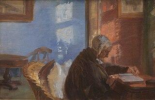 La Mère de l'artiste Ane Hedvig Brøndum dans la chambre bleue