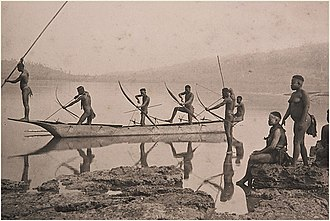 Andaman and Nicobar Islands - Andaman tribals fishing (c. 1870)