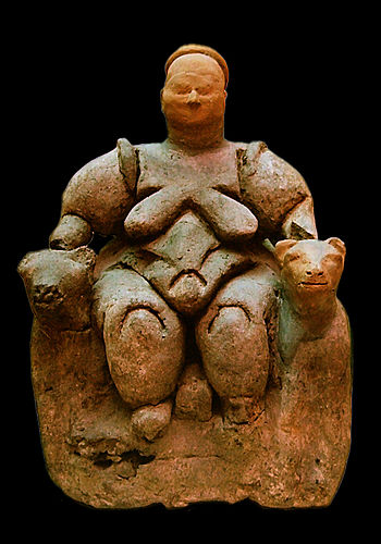 Seated Mother Goddess flanked by two lionesses...