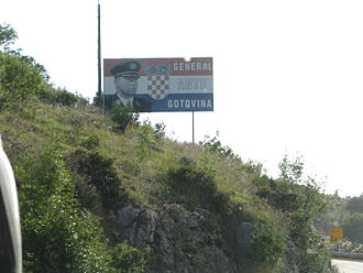 Ante Gotovina - A billboard showing a picture of Ante Gotovina on a road near Dubrovnik.