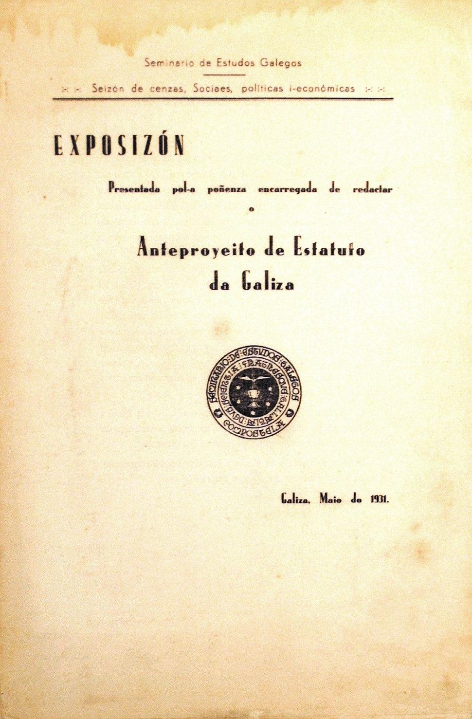 Anteproyeito de Estatuto da Galiza