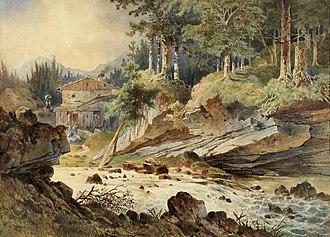 Anton Altmann - Watercolour landscape by Altmann