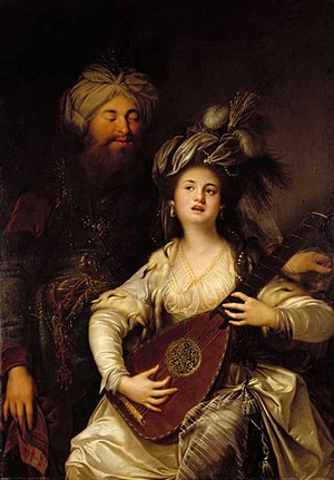 The Shadow of the Vulture - Roxelana and the Sultan Suleiman the Magnificent, the villains of the story. Painting by the German baroque painter Anton Hickel (1780)