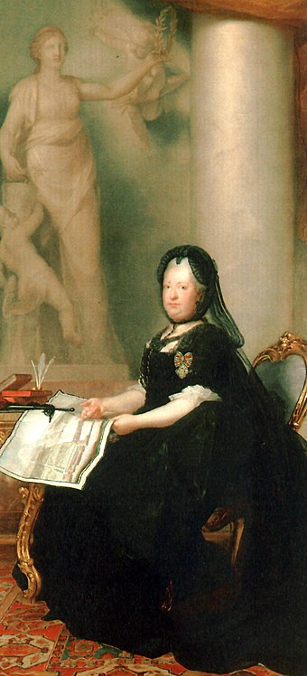 Maria Theresa as a widow in 1773, by Anton von Maron. Peace holds the olive crown above her head, reaffirming Maria Theresa's monarchical status. This was the last commissioned state portrait of Maria Theresa. Anton von Maron 005.jpg