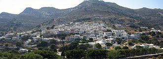 Apeiranthos - Panoramic view of Apiranthos from the East