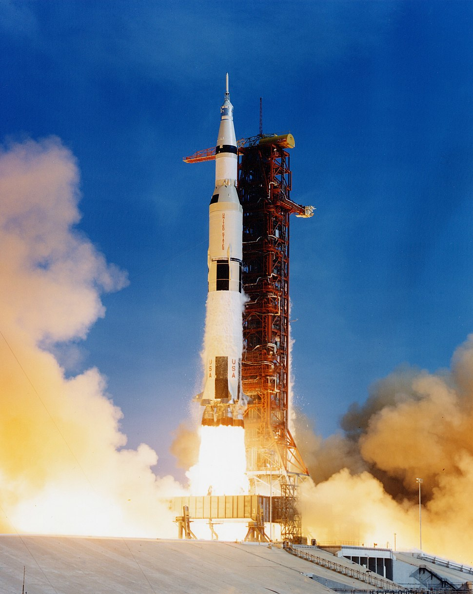 Apollo 11 Saturn V lifting off on July 16, 1969