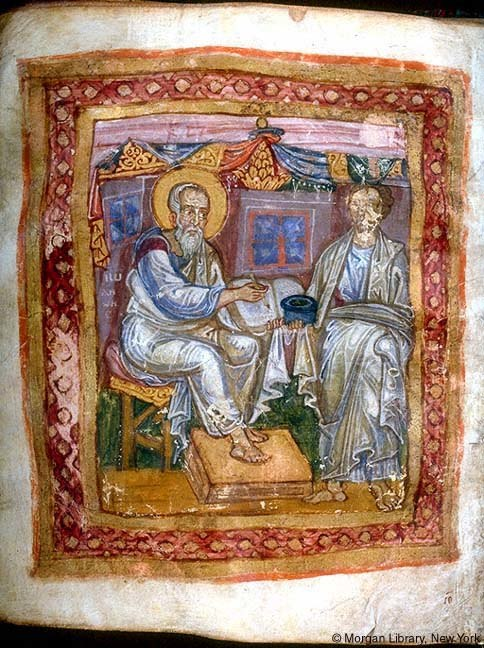 Apostle John and Marcion of Sinope, from JPM LIbrary MS 748, 11th c