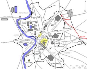 Aqua Tepula - Map of Rome with Aqua Tepula running (red)