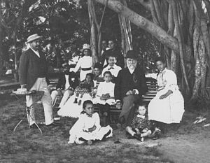 James Harbottle Boyd - The Boyd, Robertson and Cleghorn families in front of the banyan tree at ʻĀinahau.