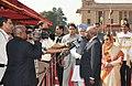 Armando Emilio Guebuza, the President, Smt. Pratibha Devisingh Patil and the Prime Minister, Dr. Manmohan Singh interacting with the media, at the ceremonial reception, at Rashtrapati Bhavan, in New Delhi.jpg