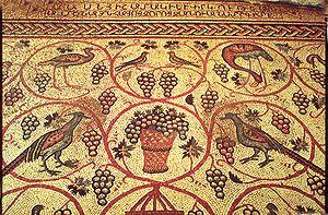 Armenian wine - Armenian mosaic and inscription at Jerusalem