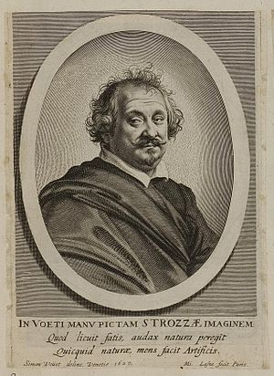 Giulio Strozzi - Strozzi, engraved portrait after a 1627 painting by Simon Vouet