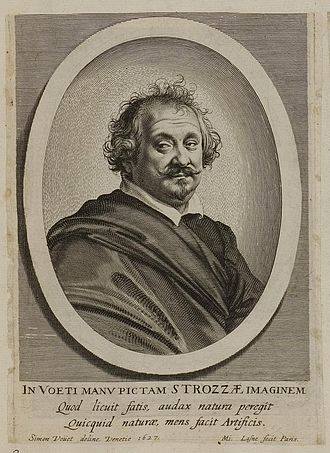 Giulio Strozzi - Strozzi, engraved portrait after a 1627 painting by Simon Vouet
