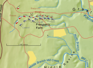 3rd New Hampshire Regiment - Deployment of units at the Battle of Freeman's Farm, 19 September 1777