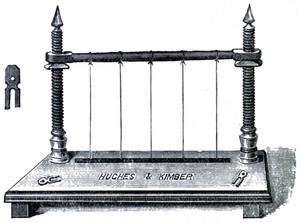 Cross-hatched drawing of a sewing press. Flat base with two screw-threading pillars.  A horizontal beam between the pillars holds up five equally spaced cords.