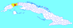 Artemisa municipality (red) within Artemisa Province (yellow) and Cuba