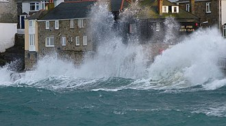 St Ives School - Waves breaking against the St. Ives Arts Club, 2013