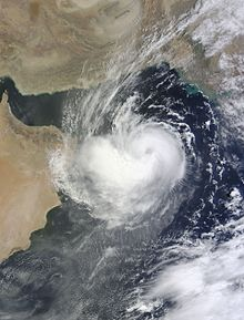 A satellite image of Cyclonic Storm Ashobaa (01A) at peak intensity over the Arabian Sea on 9 June