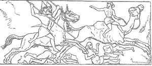 Middle Assyrian Empire - Assyrian horsemen pursue defeated Arabs.