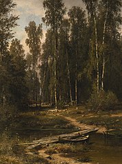 At the Edge of a Birch Grove (Bridge to a Lumbering Site)