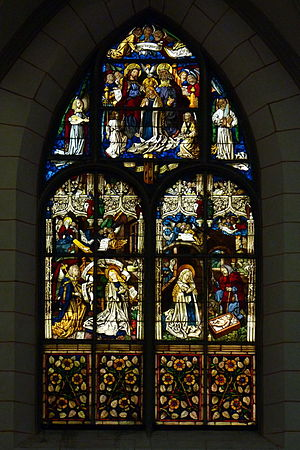 Stained glass window in Augsburg, 15th century