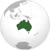 A map showing the location of Australia