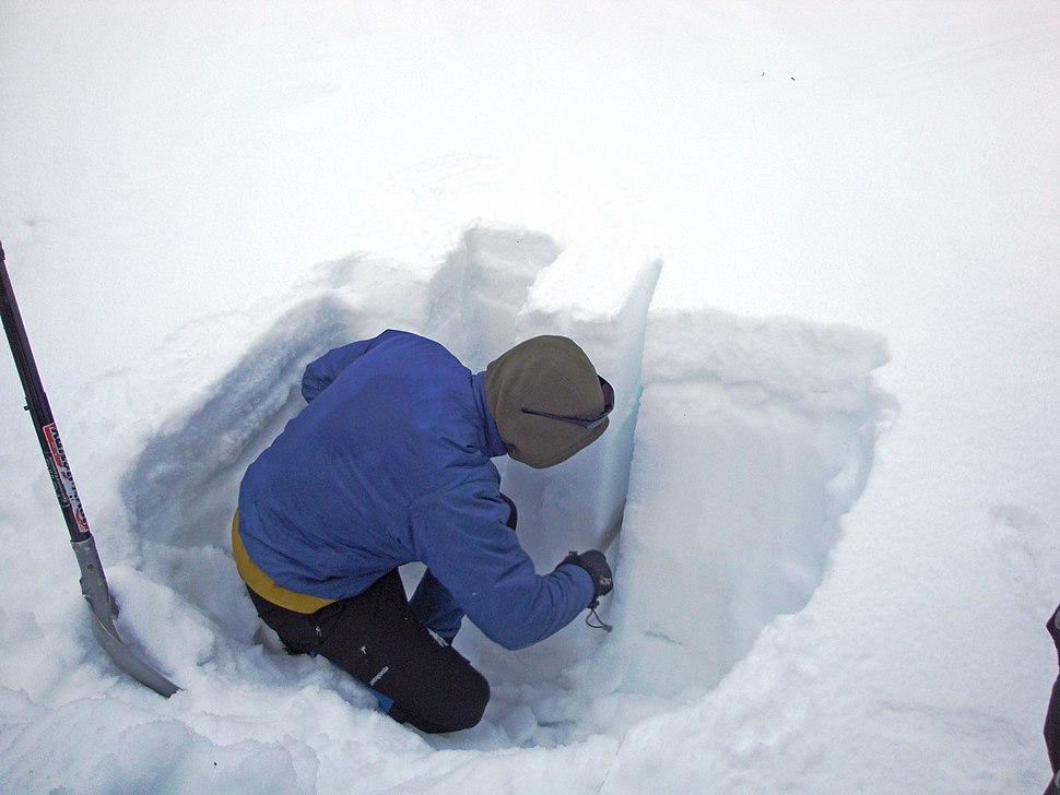Avalanche testing snow pit