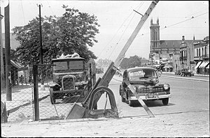 Boom barrier - Manually-operated boom barrier at a level crossing in Buenos Aires, 1948.