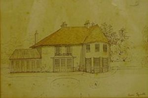 "Sopley - the former ""Avon Tyrrell"" Manor owned by the Fane family which is now the Tyrrells Ford Country Inn and Hotel. The picture was drawn by Lt Col. Henry Hamlyn-Fane in 1850."