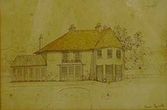 """Sopley - the former """"Avon Tyrrell"""" Manor owned by the Fane family which is now the Tyrrells Ford Country Inn and Hotel. The picture was drawn by Lt Col. Henry Hamlyn-Fane in 1850."""