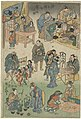 Avondmarkt met straattheater in de Joruri straat Afbeelding van de voorspoed in de Joruri straat (serietitel) Jorurimachi hanka no zu (serietitel op object), RP-P-OB-JAP-27.jpg