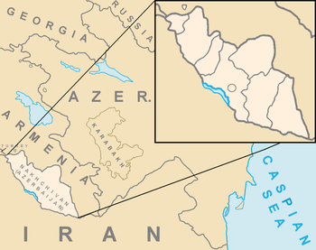 Location of Nakhchivan in the South Caucasus.