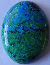 Azurite malachite cabochon gemstone.JPG