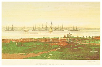 Flying Squadron (1869) - Image: B(1871) p 227 AUCKLAND HARBOUR, N.Z