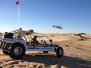 Algodones Dunes - BLM  Ranger EMS Rescue vehicles and helicopter drill, Algodones Dunes ORV area