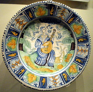 Tin-glazed pottery made in the British Isles between the 16th and 18th centuries