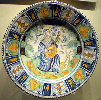 English delftware - English delftware dish, 1638, probably by Richard Irons, Southwark, London (Victoria and Albert Museum)