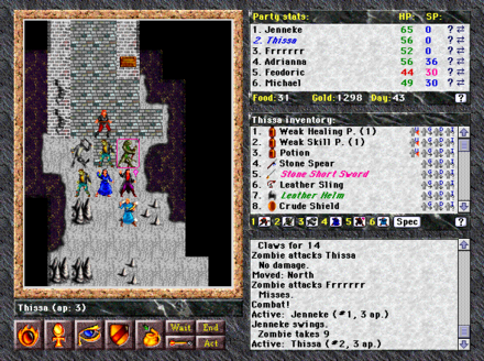 Blades of Exile features multi-character combat on a tiled overhead map BOEcombat1.png